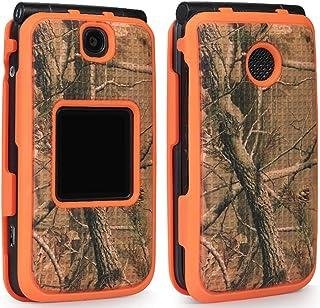 Case for Alcatel Go Flip V, Nakedcellphone [Orange Camouflage] Tree Leaf Real Woods Camo Protective Cover for Alcatel Go F...