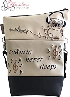 Handtasche Music never sleeps Eule Tasche Foldover Schultertasche