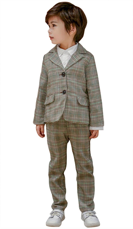 C-Princess 男の子 フォーマルスーツ タキシード ジャケット ズボン 2点セット チェック柄 紳士服 ジュニア 子供 キッズ 入学式 七五三 結婚式