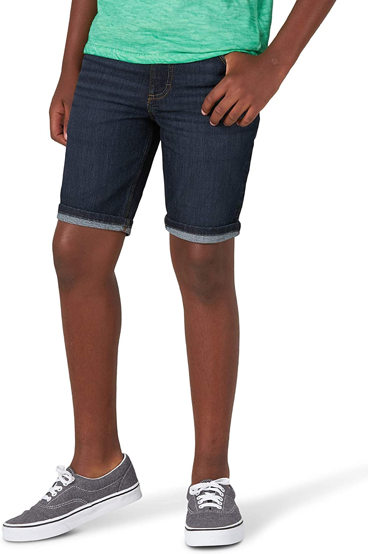 Wrangler Boys Five Pocket Premium Denim Jean Shorts (Space Blue Dark Wash)