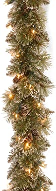 National Tree 6 Foot by 10 Inch Glittery Bristle Pine Garland with Flocked Cones and 50 Battery Operated Soft White LED Lights with Timer (GB3-300-6A-B1)