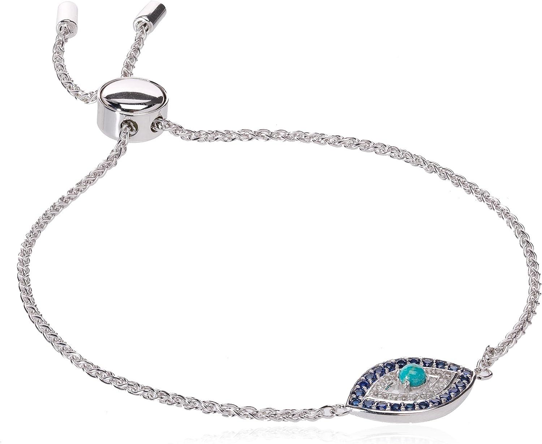 Adjustable Bolo Bracelet Good Luck Protection Bracelet For Women Evil Eye Bracelet 14K White Gold Plated Over 925 Sterling Silver