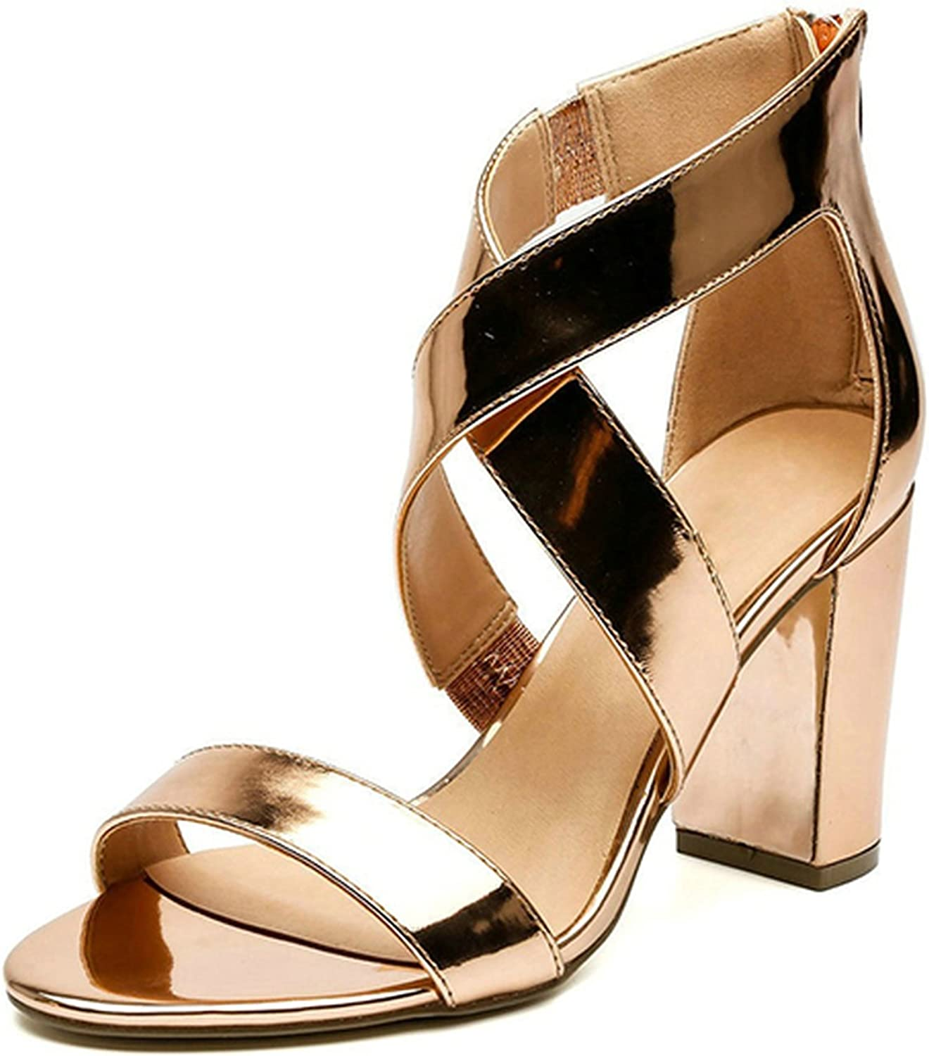 2018 Summer Women High Heels Open Toe Ankle Strap shoes Thick Heel Plus Size Sandals
