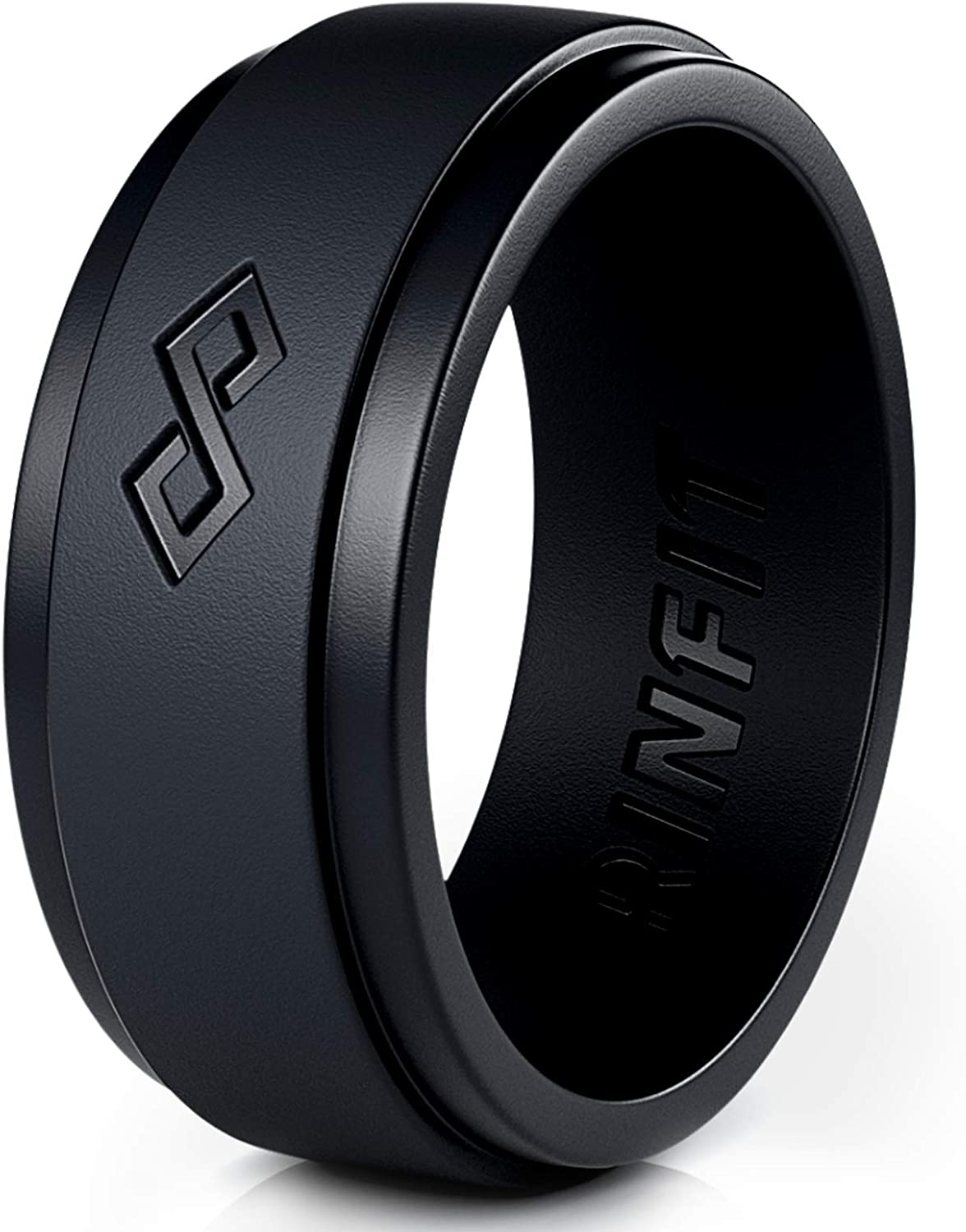 Silicone Wedding Ring for Men by Rinfit. 1 or 3 Rings Pack. Designed, Safe & Soft Men's Silicon Rubber Bands. Comfortable & Durable Wedding Band Replacement. Size 7-14 (7, Black)