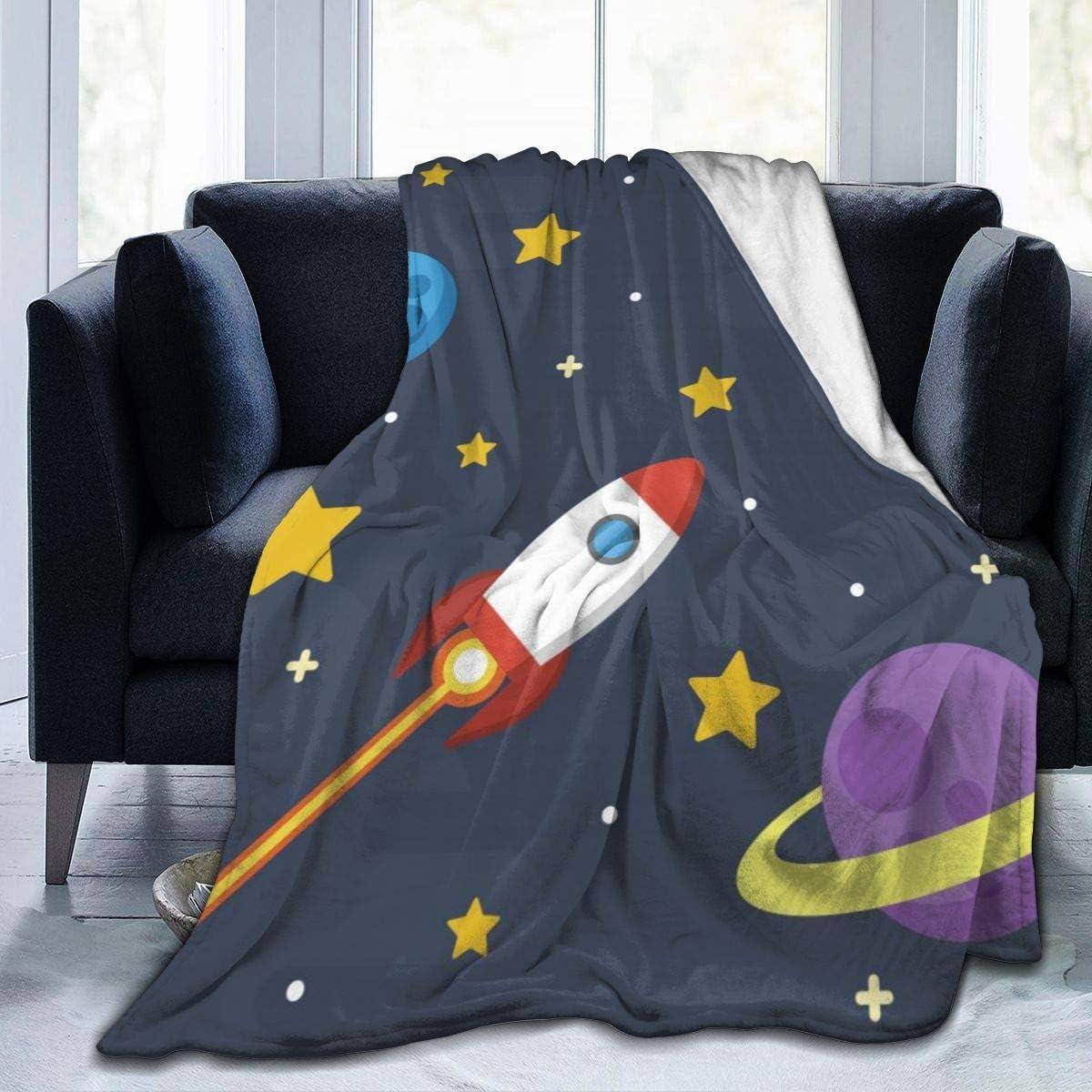 Details about  /Blue Cartoon Space Moon Print Fleece Throw Blanket