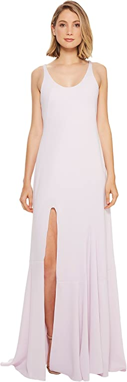 Halston Heritage - Sleeveless Scoop Neck Gown w/ Flounce Skirt