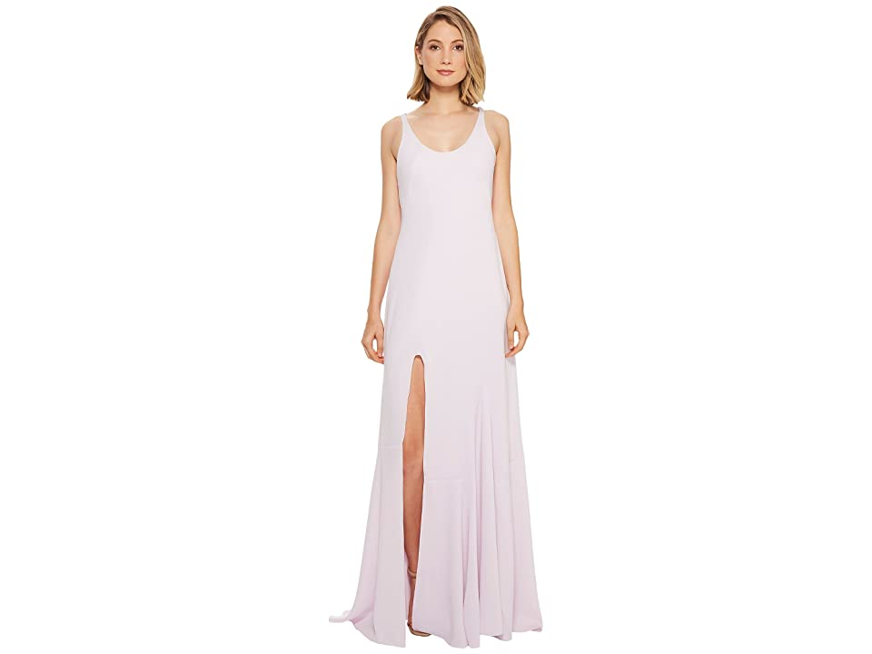 Halston Heritage Sleeveless Scoop Neck Gown w/ Flounce Skirt (Hushed Violet) Women
