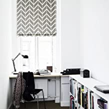 KARUILU home Quick Fix Washable Roman Window Shades Flat Fold, Geometric Color Pattern (Custom, Classic Strip Grey)