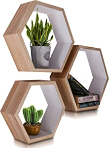 Hexagon White Floating Shelves - Set of 3, Small, Medium & Large Sizes - Luxurious Honeycomb Floating Shelves for Home - Geometric Wall Decor for Boho Room - Set of Nails and Screws Included