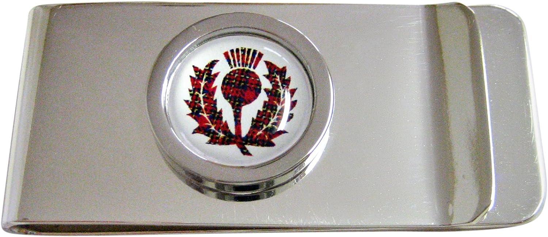 Circular Dark Red Scottish Thistle Money Clip
