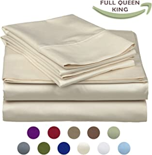 High Strength Natural Bamboo Fiber Yarns Egyptian Comfort 1800 Thread Count 4 Piece Full Size Sheet Set, Beige Color