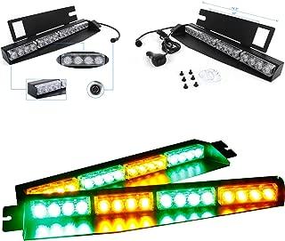 32W LED Lightbar Visor Light Windshield Emergency Strobe Split Mount Deck Dash Lamp (Amber&Green)