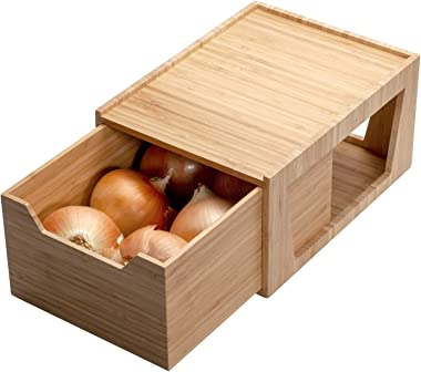 Tall Bamboo Drawer, Stackable Storage Solution for Kitchen Products, Office Supplies, or Bathroom Cosmetics & Toiletries,