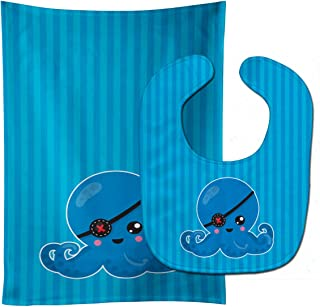 Caroline's Treasures Dinosaur Blue Baby Bib & Burp Cloth, Multicolor, Large