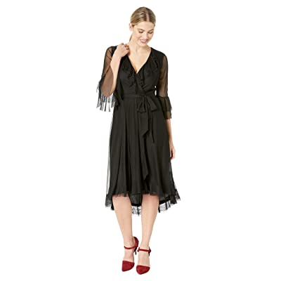 Gabby Skye Ruffle Mesh Dress (Black) Women