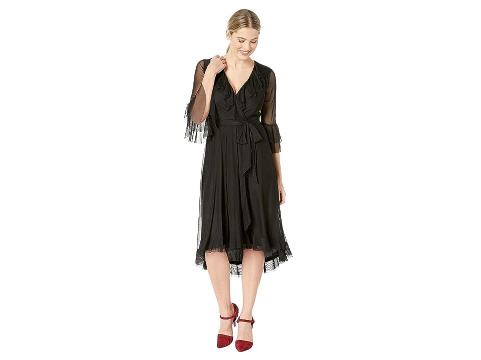 Gabby Skye Ruffle Mesh Dress (Black) Women