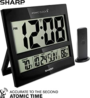 "Sharp Atomic Clock - Atomic Accuracy - Never Needs Setting! - Jumbo 3"" Easy to Read Numbers - Indoor/Outdoor Temperature Display with Wireless Outdoor Sensor - Battery Powered - Easy Set-Up!!"