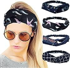 4 Pack Women Elastic Turban Head Wrap Headband Twisted Hair Band Cute Hair Accessories H1 (4 Color Pack P)