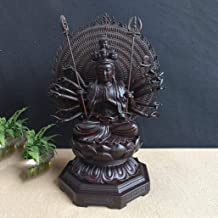 Statue Sculpture Meditative Buddha Avalokitesvara Ebony Sitting Buddha Wood Guanyin Statue Craft Gift 1214