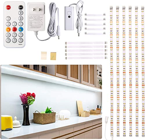 Under Counter Light, Dimmable LED Under Cabinet Lighting, 6 PCS LED Strip Light Bars with Remote Control for Kitchen,...
