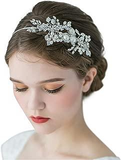 SWEETV Handmade Pearl Wedding Headbands for Women, Silver Rhinestone Hair Band Bridal Headpiece, Hair Jewlery Accessories