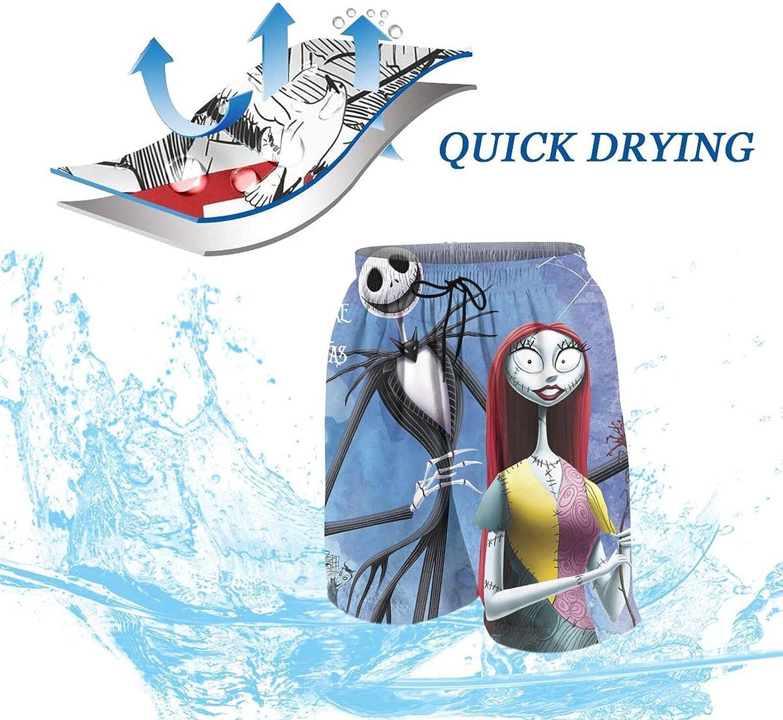 Boys Nightmare Before Christmas Beach Shorts Quick Dry Beach Pants Funny Board Shorts Teen Swim Trunks