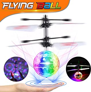 Flying Ball Toys, RC Flying Toy for Kids Boys Girls Gifts Hand Control Helicopter Rechargeable Light Up Ball Infrared Induction Mini Drone with Remote Controller for Indoor Outdoor Games Novelty Toys
