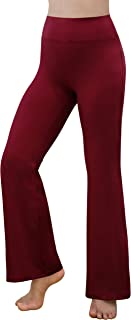 Women's Power Flex Tummy Control Workout Yoga Boot Cut Flares Pants with Inner Pocket