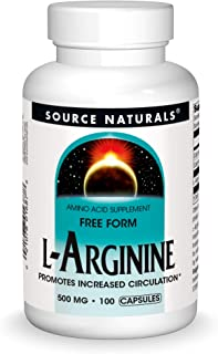 Source Naturals L-Arginine - Free Form and Promotes Increased Circulation - Supports Cardiovascular Health - 100 Capsules