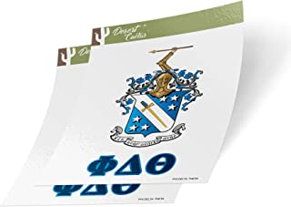 Phi Delta Theta Letter 2-Pack Decal Greek for Window Laptop Computer Car Phi Delt (Crest Sticker)