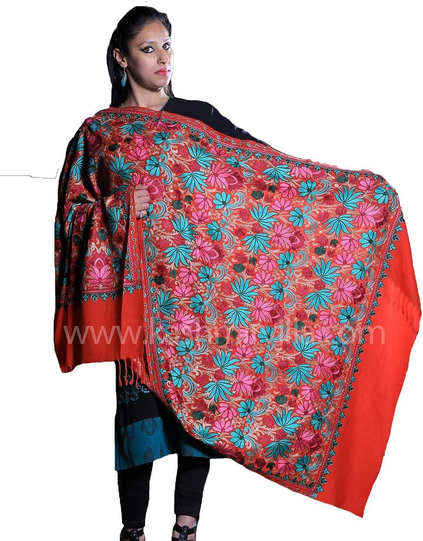 Kashmirvilla Scarlet Red color Embroidered Shawl Enriched With Floral Designer Jaal Pattern