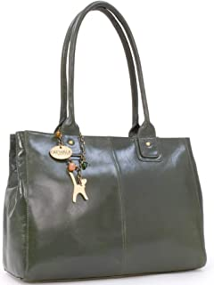 Catwalk Collection Handbags - Women's Large Vintage Leather Tote/Shoulder Bag - KENSINGTON