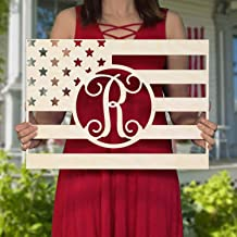SALE 20-36 inch Rectangle FLAG Wooden Monogram - Independence Day - USA - personalized custom wall hanging gifts - 4th of ...