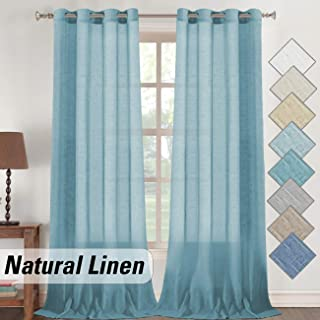 """Flamingo P Turquoise Linen Sheer Curtains, Light Filtering Natural Linen Textured Panels with Nickel Grommets Top, Semi Sheer Extra Long Linen Curtain Set (Turquoise, 52"""" W x 108"""" L, 2 Panel)"""