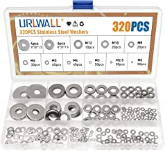 320PCS Stainless Steel Washers Flat Washers Assortment M2 M2.5 M3 M4 M5 M6 M8 M10 M12 Metal Washers for Bolt Screw, Metric...