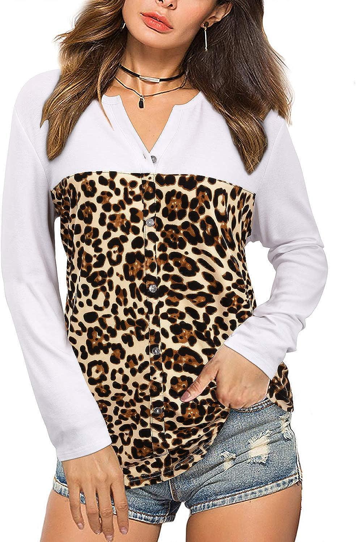 KILIG Women's V Neck Long Sleeve Casual Leopard Print Color Block T Shirt Loose Button Down Blouse Tunic Tops(White,Large)