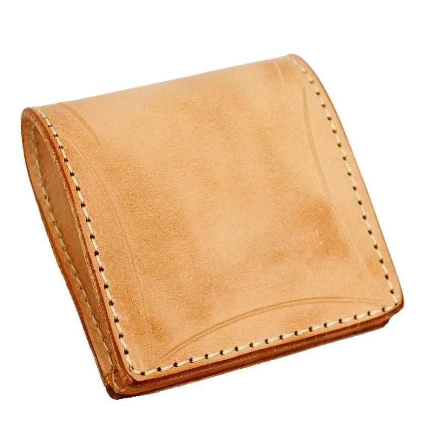 ひもに付ける征服者牛革 コインケース ボックス型 ヌメ革 メンズ レディース カービングクラフト 焦がしヌメ革