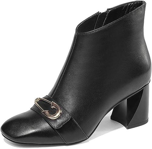YAN Femmes Bottes De De De Cheville Nouvelle Cuir Zipper Chaussons Square Tête Rugueuse Hauts Talons De La Dame Formelle Chaussures Habillées Noir Blanc,noir,38 0f9