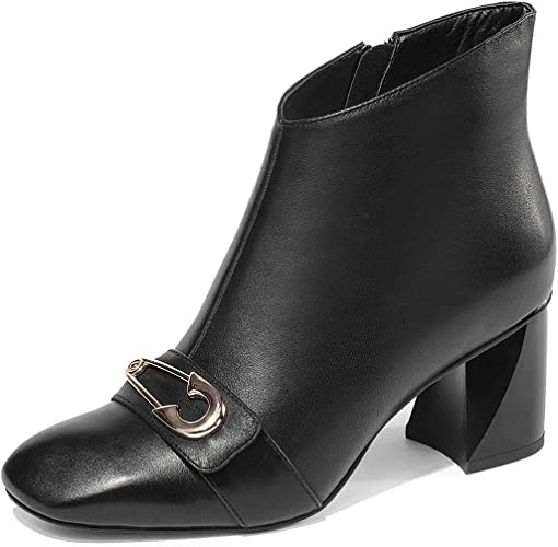 YAN Femmes Bottes De Cheville Nouvelle Cuir Zipper Chaussons Square Tête Rugueuse Hauts Talons De La Dame Formelle Chaussures Habillées Noir Blanc,noir,38