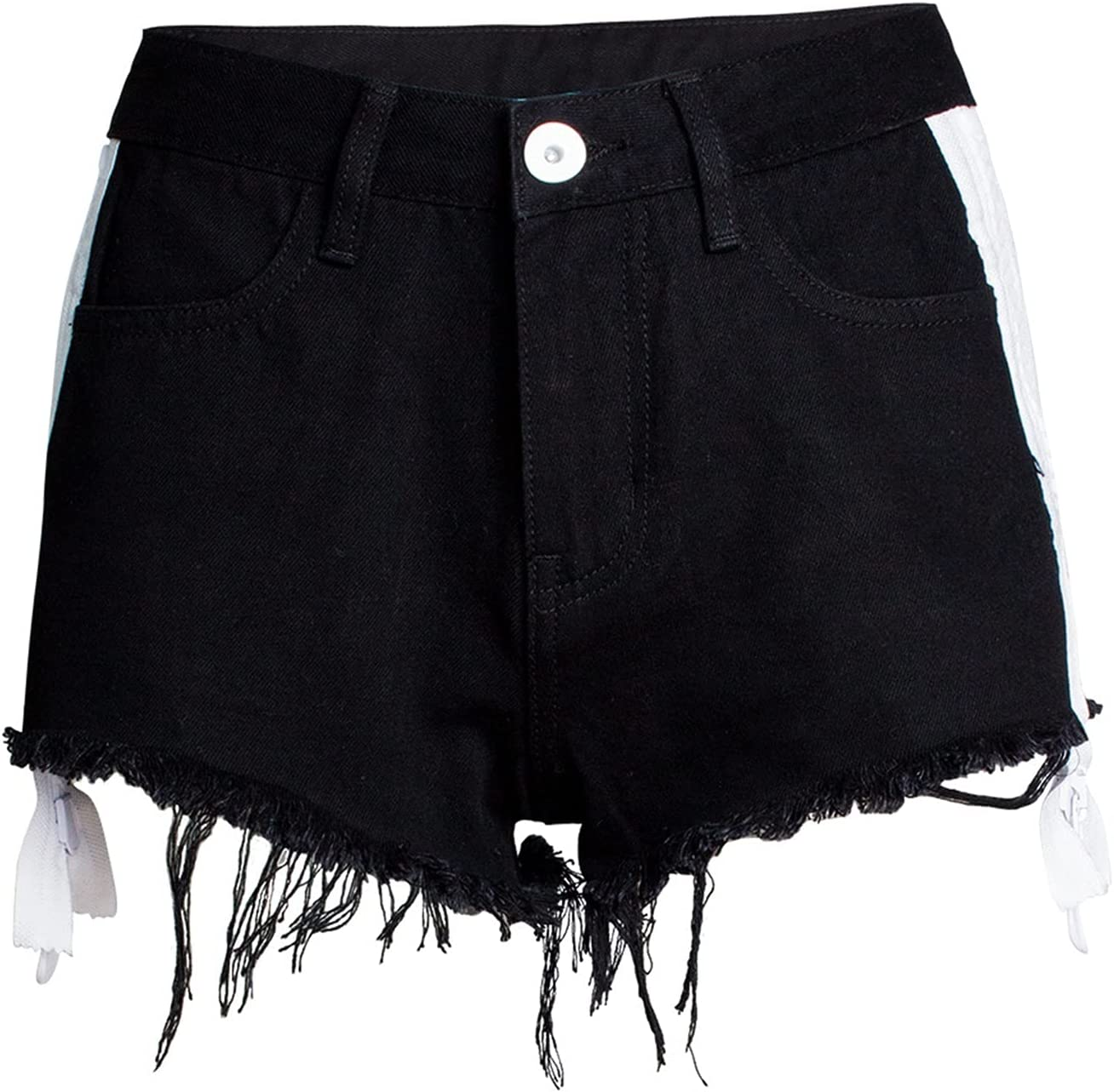 SBCDY Women's Destroyed Ripped Hole Denim Shorts Sexy Short Jeans Summer High Waist Denim Shorts Hole Tear Tassel Denim Shorts (Color : Black, Size : 36)