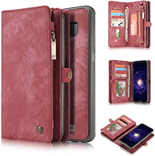 KONKY Caseme Samsung Galaxy S8 Plus Wallet Case, Magnetic Detachable Removable Phone Cover Pouch Folio Durable Leather Purse Flip Card Pockets Holder Bag Smooth Zipper - Red