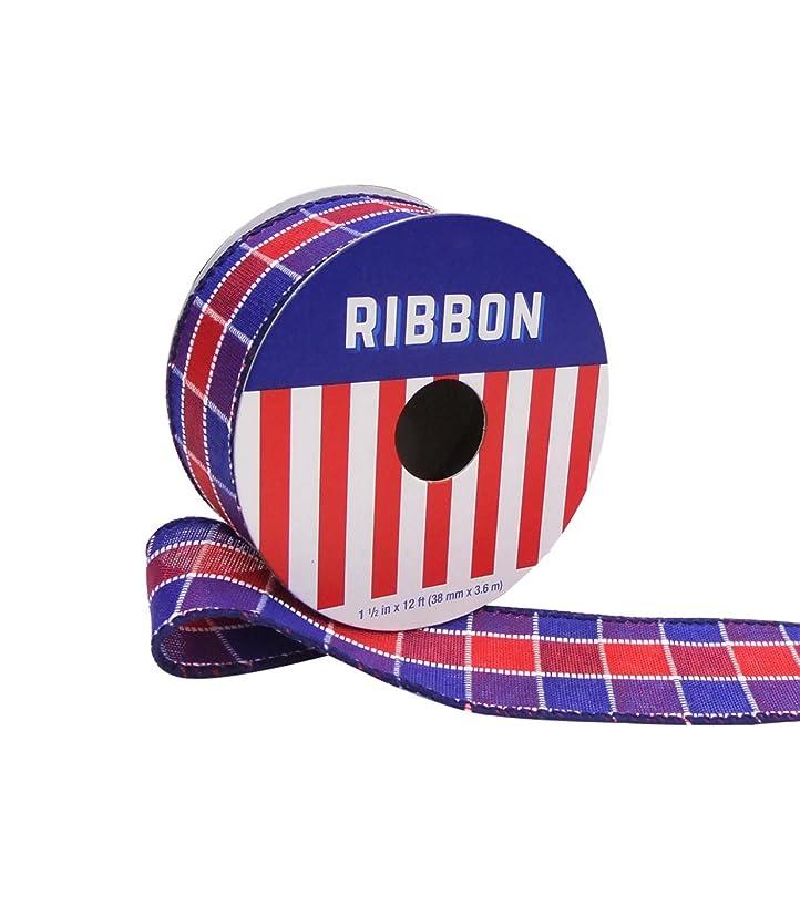 Americana Patriotic Ribbon 1.5'' x 12' Red & Blue Plaid