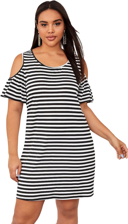 SOLY HUX Women's Plus Size Striped Short Sleeve Cold Shoulder T Shirt Dress