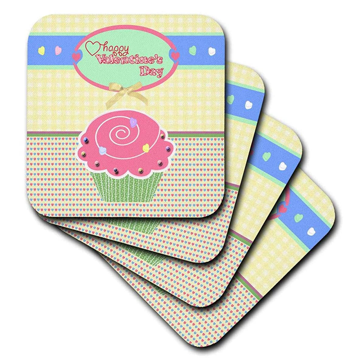 有名人ギャングスターハック(set-of-8-Soft) - 3dRose Valentine Pink Cupcake with Candies on Yellow Gingham and Tiny Hearts - Soft Coasters, Set of 8 (cst_173154_2)
