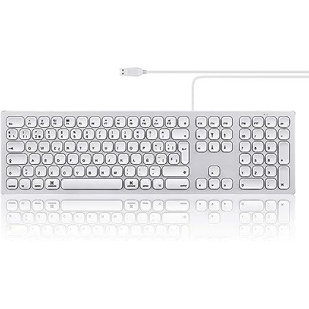 Perixx PERIBOARD-325 Teclado Slim Retroiluminado con Cable, 2 Puertos, Compatible con Mac OS X, Aluminio, Configuración ES