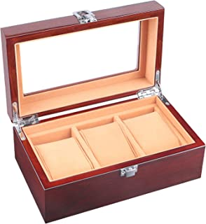 Watch Box for Men 3 Slots Wood Organizer Storage Case Mens Jewelry Watches Collection Display Holder Boasts Glass Top & Flannel Pillow