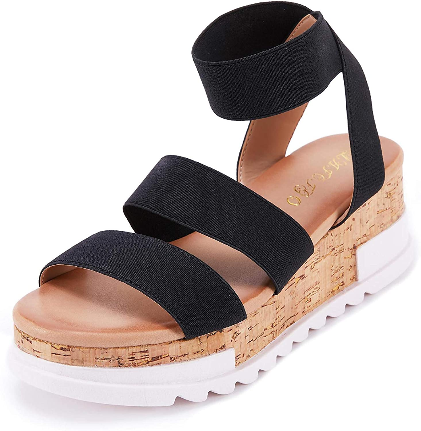 Women's Colorado Springs Mall Wedge Sandals Platform Elastic Open To lowest price Ankle Straps
