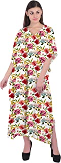 RADANYA Womens Casual Cotton Kaftan Floral 3/4 Sleeve Bikini Swimsuit Cover Up Dress