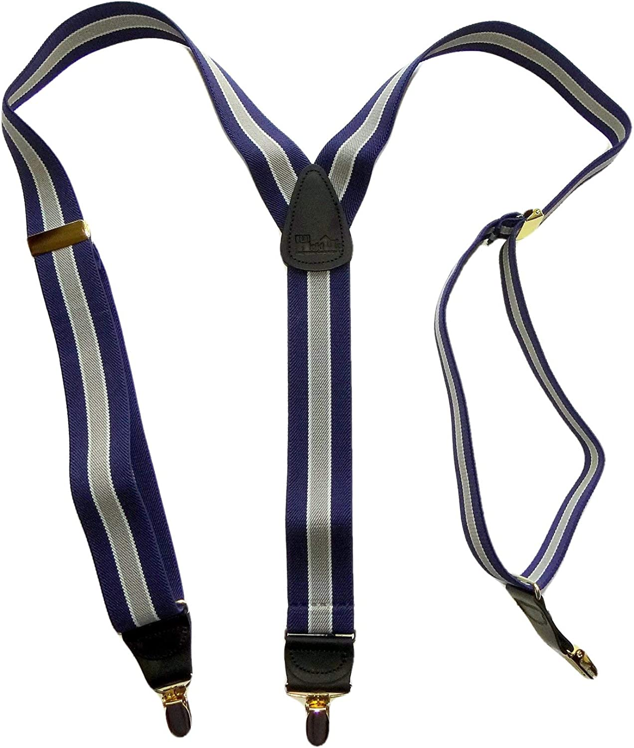 Holdup Brand Navy & Gray Striped Y-back style Suspenders with No-slip Gold-tone Clips
