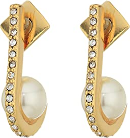 Pearl and Crystal Ball Huffie Earrings